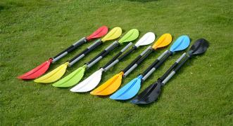 Paddle for kayaks and kayaks, two-section, asymmetric
